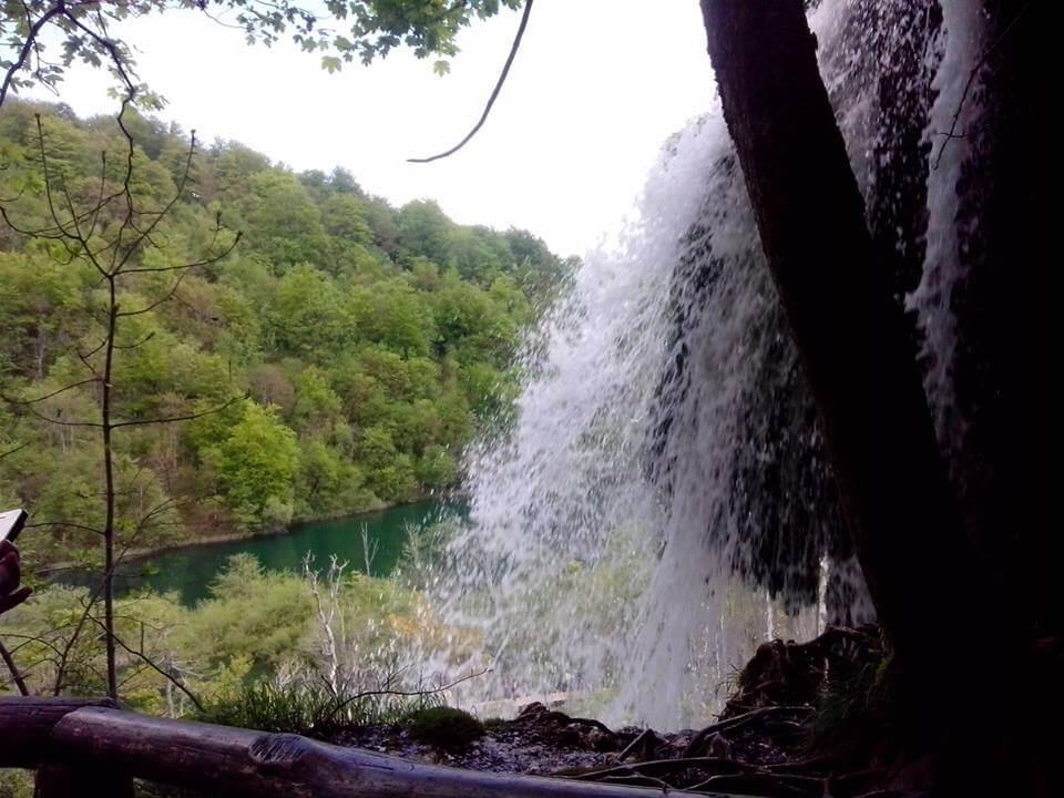 Plitvicei kiránduláson készült fénykép: Egy erőteljes vízesés mellett
